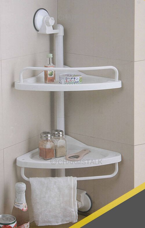 Hot 2 Tiers Suction Cup Bathroom Rack Corner Chrome Shower