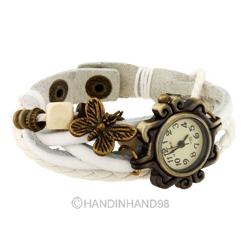 Retro Weave PU Leather Butterfly/Bronze Tower/Wing Pendant Bracelet Wrist watch