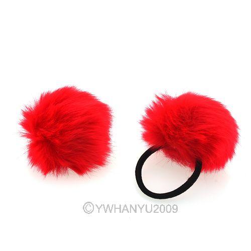 2pcs Red Rabbit Fur Elastic Rubber Hair Band Pom Scrunchie ...